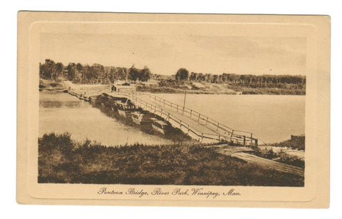 WINNIPEG MANITOBA POSTCARD  PONTOON BRIDGE  RIVER PARK