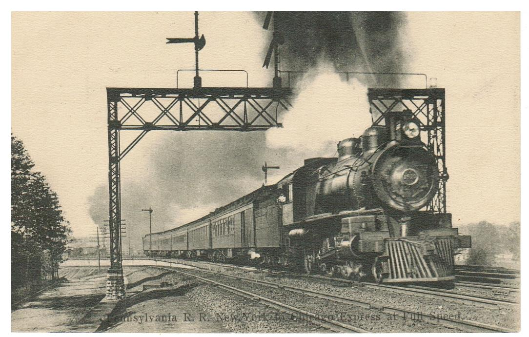 PENNSYLVANIA R.R. NEW YORK TO CHICAGO EXPRESS AT FULL SPEED. POSTCARD, RPPC.