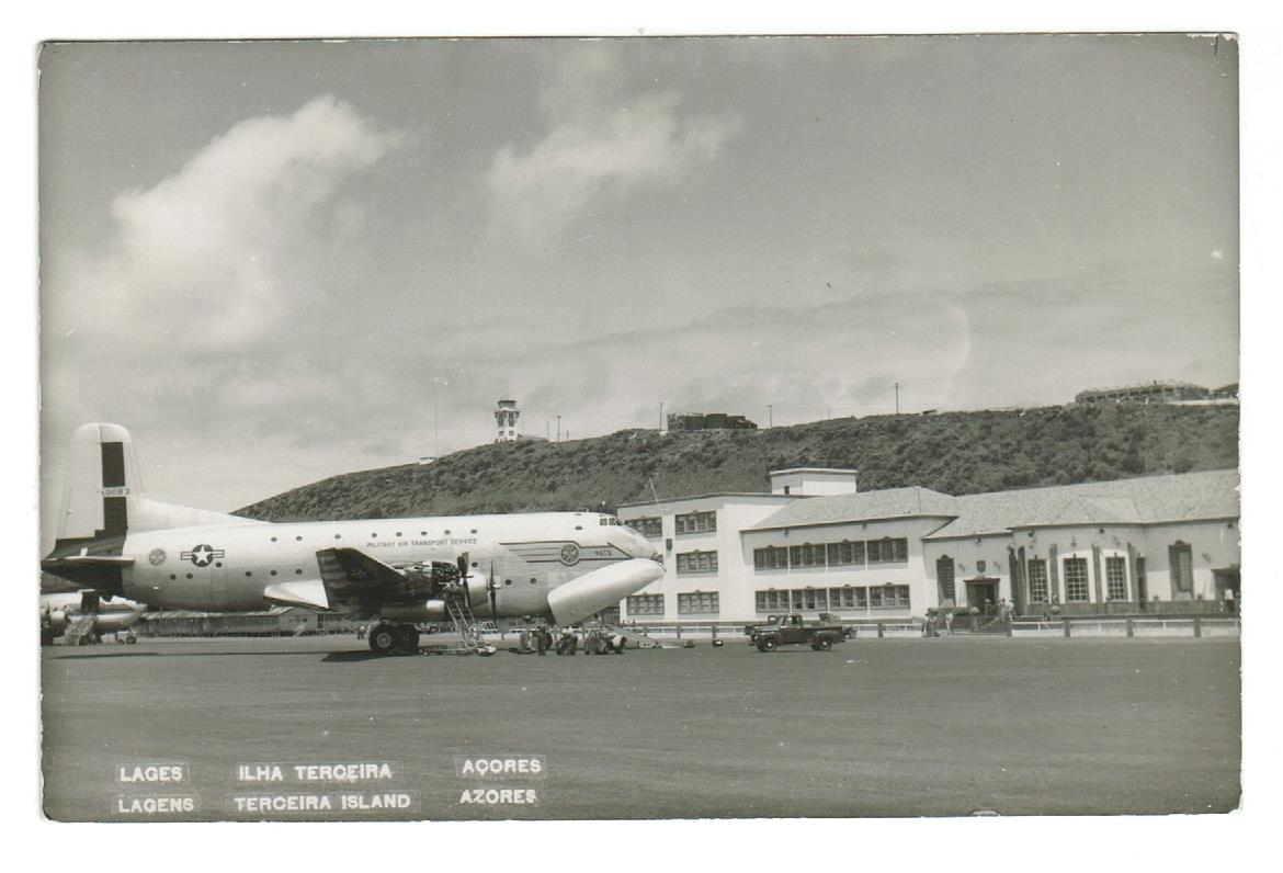 U.S. MILITARY AIR TRANSPORT SERVICES PLANE.  LAGES TERCEIRA ISLAND AZORES, PORTUGAL. RPPC POSTCARD. USA