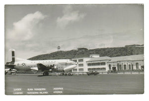 MILITARY AIR TRANSPORT SERVICES PLANE.  LAGES TERCEIRA ISLAND AZORES PORTUGAL RPPC