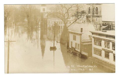 DISASTER  MONTPELIER VERMONT USA  MAIN STREET  1927 FLOOD