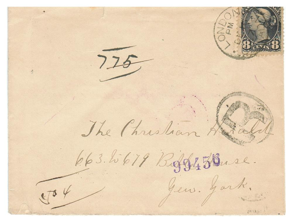 SMALL QUEEN COVER. 8 CENT 1897 REGISTERED. TO NEWY. B/S LONDON & NIAGARA FALLS. CANADA