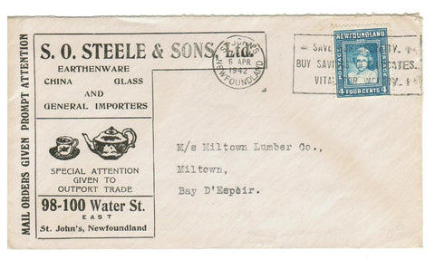 "NEWFOUNDLAND, ST. JOHN'S.  1942 ILLUSTRATED ADVERTISING COVER.  ""S. O. STEELE & SONS ..."""