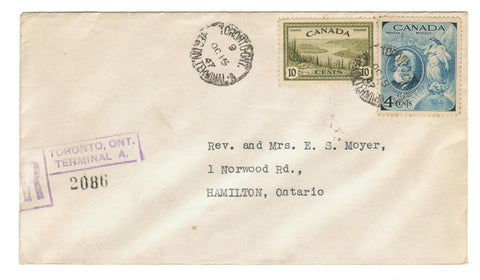 #269 (GREAT BEAR LAKE)  #274 (BELL).  REGISTERED COVER.  TORONTO, ONTARIO TO HAMILTON