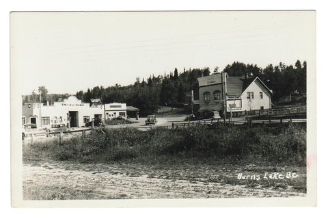 BURNS LAKE BC RPPC POSTCARD ICE CREAM PARLOUR GAS STATION PUMPS 1930'S