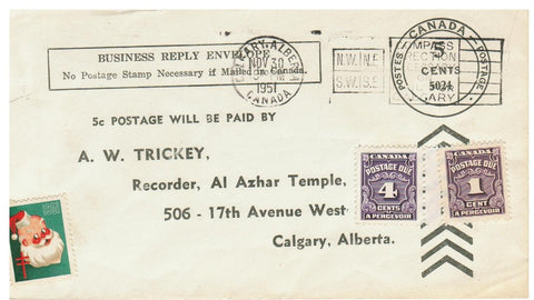 POSTAGE DUE. CHRISTMAS CINDERELLA 1951 BUSINESS REPLY CARD. CALGARY, AB. CANADA