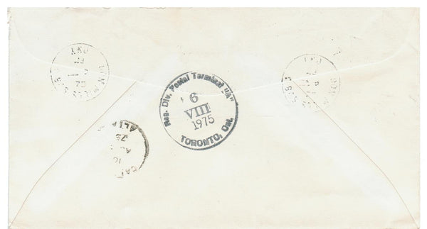 "Canada, DON MILLS, ONTARIO. 1975 REGISTERED COVER. ""FRAGILE"" TO CALGARY, AB"
