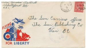 MILITARY CANADA MULTI COLOURED ILLUSTRATED PATRIOTIC COVER FOR LIBERTY ABBOTSFORD TO VANCOUVER B.C.