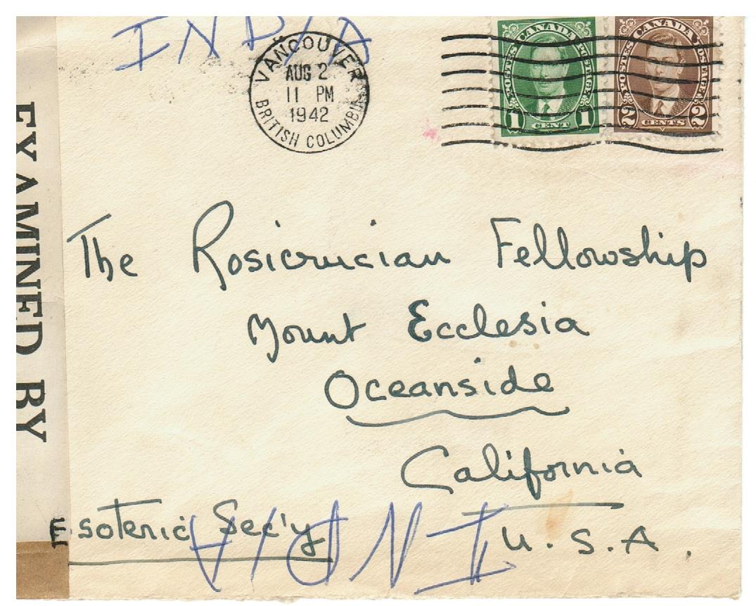 CENSORED COVER 1942 VANCOUVER B.C. TO OCEAN SIDE CALIFORNIA
