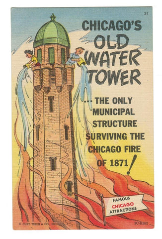 "OLD WATER TOWER, CHICAGO, ILLINOIS.  LINEN POSTCARD.  ""FAMOUS CHICAGO ATTRACTION"""