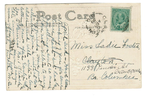 "CLAYTON, BRITISH COLUMBIA CANCEL.  SPLIT RING CANCEL.  1900 RF ""D"" (1889-1915)."
