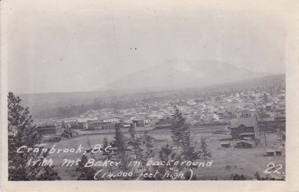 BC. Cranbrook. RPPC Postcard. Mt. Baker in background. British Columbia, Canada