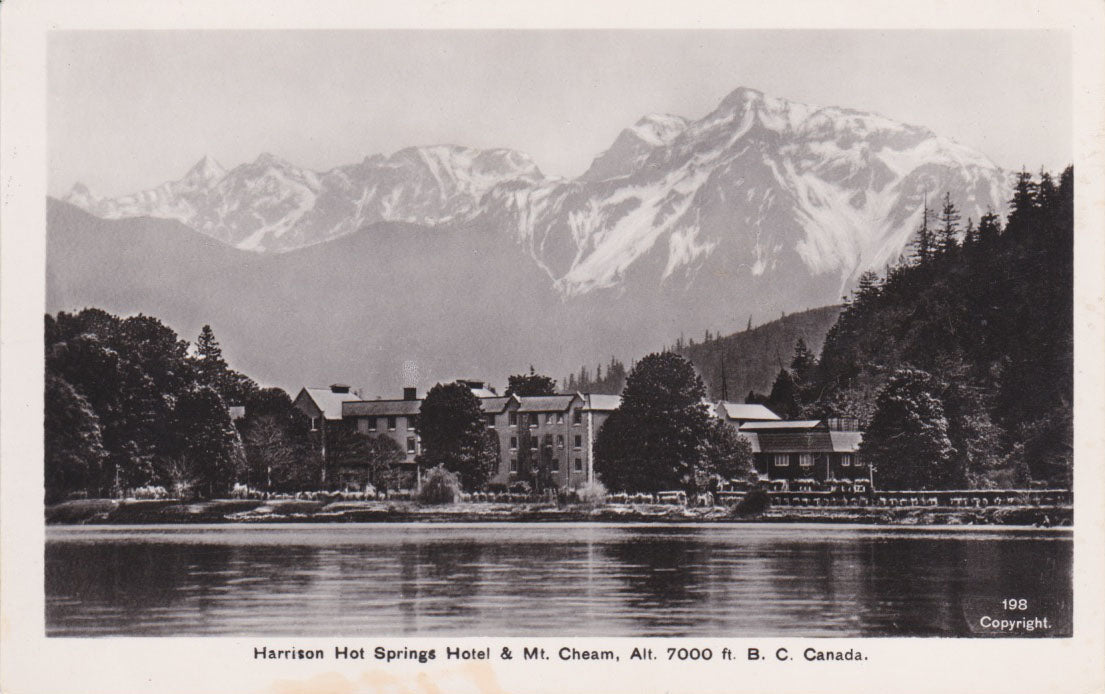 BC. Harrison Hot Springs. RPPC Postcard. Harrison Hot Springs & Mt. Cheam. British Columbia, Canada