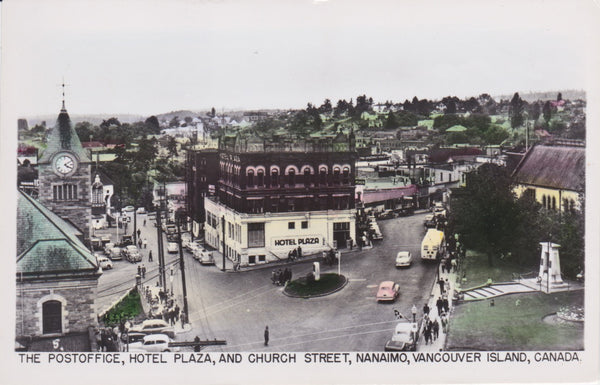 BC. Nanaimo. RPPC. Postcard. Church Street. Hotel Plaza. Post Office. British Columbia. Canada