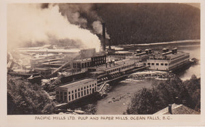 BC. Ocean Falls. RPPC. Postcard. Pacific Mills Ltd. Pulp and Paper Mills. British Columbia. Canada