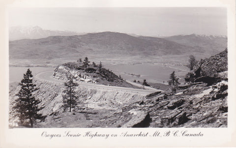 BC. Osoyoos. RPPC. Postcard. Osoyoos Scenic Highway on Anarchist Mtn. British Columbia. Canada