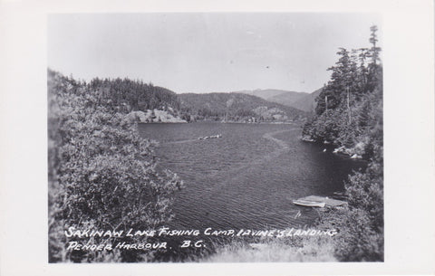 BC. Pender Harbour. RPPC. Postcard. Sakinaw Lake Fishing Camp, Lavine's Landing. British Columbia, Canada