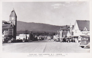 BC. Port Alberni. RPPC. Third Avenue. (C) Clegg's. British Columbia, Canada