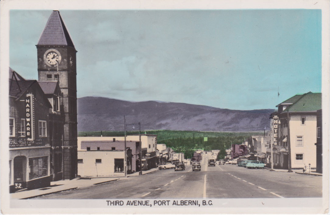 BC. Port Alberni. RPPC. Hand Coloured. Postcard. 1954. Third Avenue. British Columbia, Canada