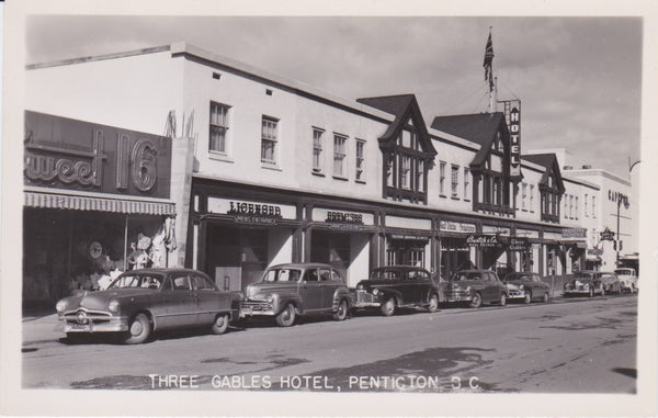 BC. Penticton. RPPC. Postcard. Three Gables Hotel. 1940's. British Columbia, Canada
