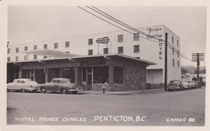 "BC. Penticton. RPPC. Postcard. Hotel Prince Charles. B/S ""More super than this PC indicates"". British Columbia, Canada"