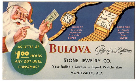 "MONTEVALLO AL. MULTI COLORED ADVERTISING POSTCARD ""BULOVA WATCHES JEWELRY"" WITH SANTA CLAUSE"