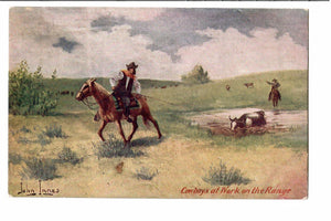 "JOHN INNES ARTIST SIGNED POSTCARD ""COWBOYS AT WORK ON THE RANGE"" 1900'S"