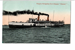 "STEAMER ""CHICORA"" POSTCARD NIAGARA NAVIGATION CO. SHIP PASSENGER AND FREIGHT, LAKE MICHIGAN"