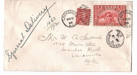 #EG SPECIAL DELIVERY LADY SMITH BC. 1936 TO VANCOUVER. CANADA COVER (RECEIVER ON FRONT)