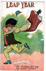 "LEAP YEAR GREETING POSTCARD ""OH! DARLING LET ME FLY WITH THEE"" COMIC"