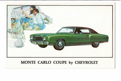 AUTOMOBILE POSTCARD 1970 MONTE CARLO COUPE BY CHEVROLET. ON THE MOVE CAR. MARION, OHIO