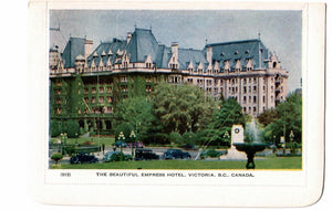 FOLKARD EMPRESS HOTEL VICTORIA B.C. CANADA. CONTINENTAL SIZE NOT USED