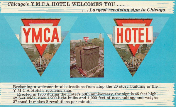 CHICAGO ILLINOIS (2) POSTCARDS (1) YMCA HOTEL (2) THE STEVENS HOTEL (WHITE BOARDER) U.S.