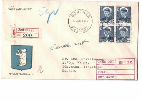 GREENLAND GODTHA AB 1953 (FDC COVER BLK OF (4) REGISTERE TO EDMONTON ALberta CANADA