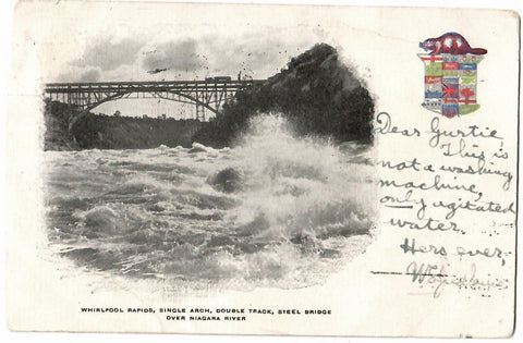 "CANADA PATRIOTIC POSTCARD ""WHIRL POOL RAPIDS"" DOUBLE TRACK RAIL BRIDGE FROM US TO NZ WITH RECEIVER CANCEL"