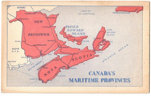 MAP ATLAS ATLANTIC PROVINCES N.B., N.S., P.E.I. NL. MARITIMES CANADA POSTCARD. DETAILED ON BACK