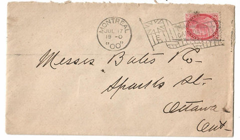 "MONTREAL FLAG CANCEL ""E"" 1900 TO OTTAWA ONTARIO B/S CANADA NUMERAL ISSUE ON COVER"