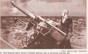 "CANADA MILITARY ""STEEL HELMETED SOLDIERS ABOARD A CANADIAN DESTROYER WWII."" POSTCARD"