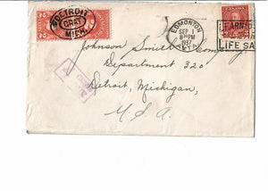 EDMONTON AB 1937 COVER POSTAGE DUE SHORT PAID 4 CENTS CROSS BORDER TO DETROIT MICH. U.S. PICTORIAL ISSUE