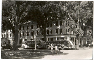 TWO BUSES HIDING IN THE TREES IN FRONT OF MONROE HOTEL GRINNELL IOWA RPPC POSTCARD R.S.