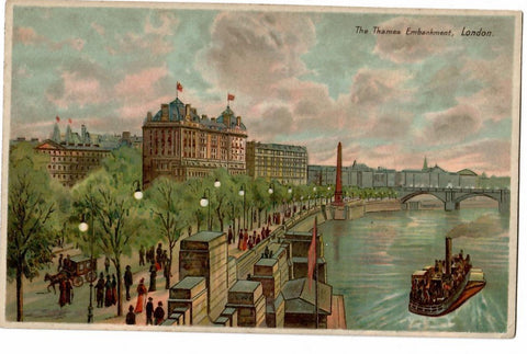 "HTL HOLD TO LIGHT POSTCARD ""THE THAMES EMBANKMENT"" LONDON ENGLAND"
