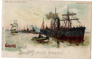 "HTL HOLD TO LIGHT 1902 POSTCARD GREETINGS FROM GERMANY ""SHIPS IN HARBOUR"" METOR DRGM"