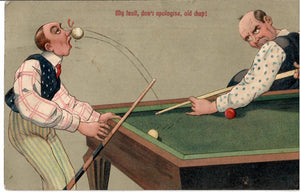 ST. JOHN'S NEWFOUNDLAND POST MARK 1911 ON POOL BILLIARDS EMBOSSED COMIC POSTCARD