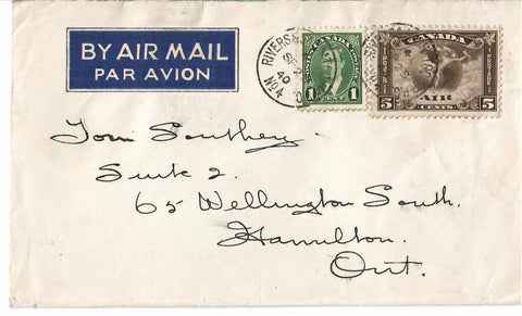 C2 AIR MAIL COVER 1940 RPO RIVERS & SASKATOON NO. 4 TO HAMILTON ON. CANADA COVER