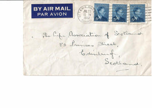 #288 X (3) OTTAWA ON. 1952 AIRMAIL 15 CENT RATE TO EDINBURGH SCOTLAND