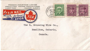 T.C.A. TRANS CANADA AIRLINE MULTI COLOURED AIR MAIL LABEL SEAL ON COVER