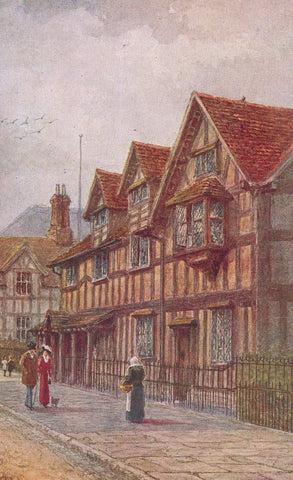 FAMOUS PEOPLE SHAKESPEAR'S BIRTHPLACE ENGLAND. ORIGINAL PAINTING BY W.W. QUATREMAIN