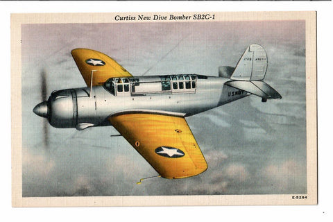"CURTIS NEW MILITARY AIRPLANE DIVE BOMBER ""STRIKES HARDER, FLIES FASTER, AND RANGER FURTHER THAN ANY OTHER"" LINEN"