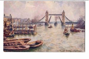TOWER BRIDGE THE TOWERS ARTIST SIGNED TUCK POSTCARD BY C.E. FLOWER ENGLAND
