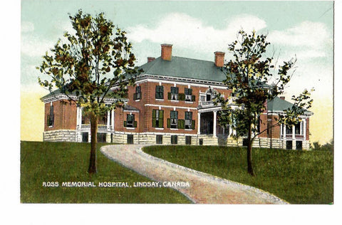 ROSE MEMORIAL HOSPITAL POSTCARD LINDSAY ON. ONTARIO CANADA 1900'S